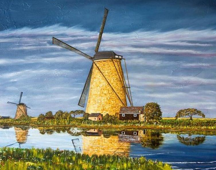 Windmills & Cloudy Sky Painting Kit