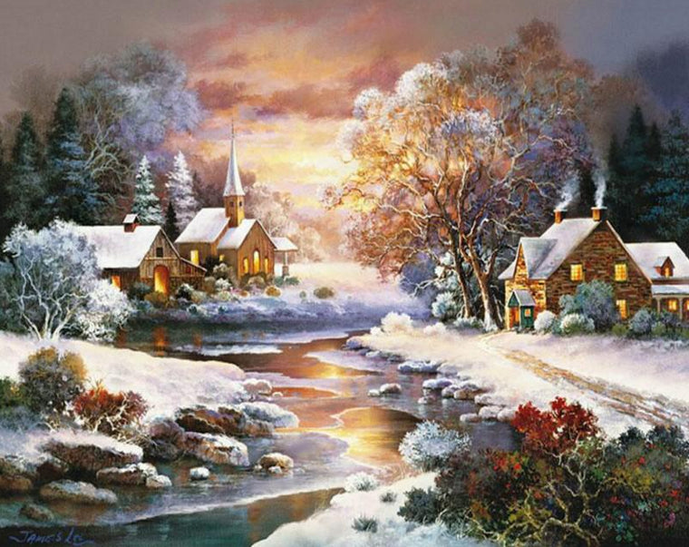 Winter Evening Paint by Numbers
