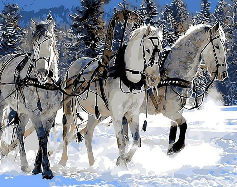 Winter Horses Paint by Numbers