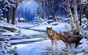 Winter Howling Wolf Paint by Numbers