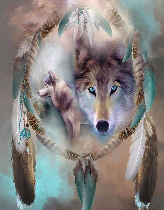 Wolf Dream Catcher Paint by Numbers Kit