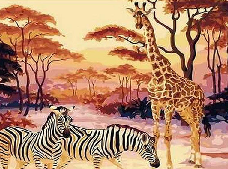 Zebras & Giraffe Paint by Numbers