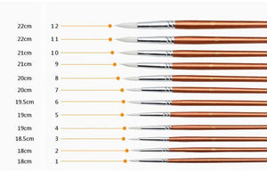 12 pcs/set Round Shape Nylon Hair Wooden Handle Paint Brush
