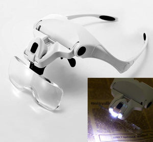 Adjustable 5 Lens Loupe LED Light Headband Magnifier Glass Lamp