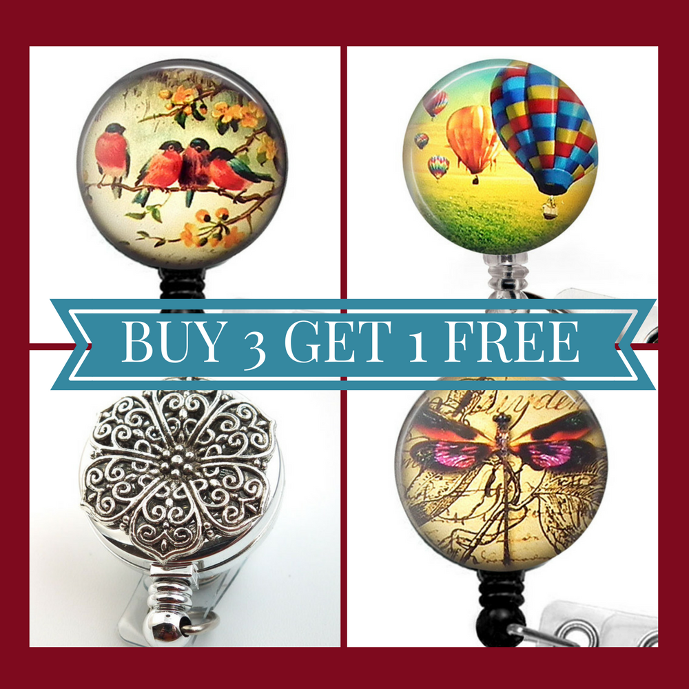 Buy 3 Badge Reels Get 1 Free at Plum Beadacious