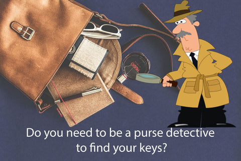 Detective looking in purse for keys