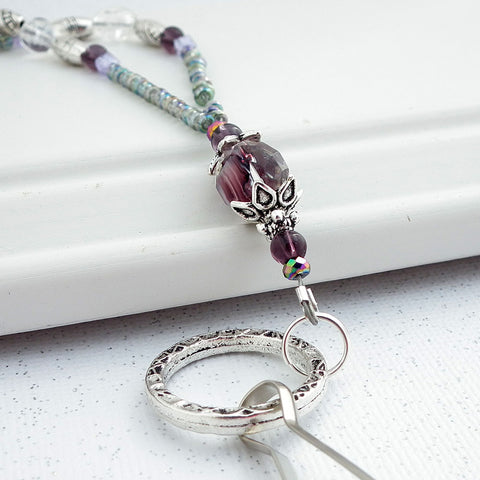 Beaded Lanyard - Purple, Clear and Silver