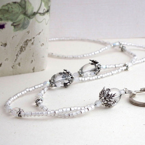 Beaded Lanyard - Clear and Silver