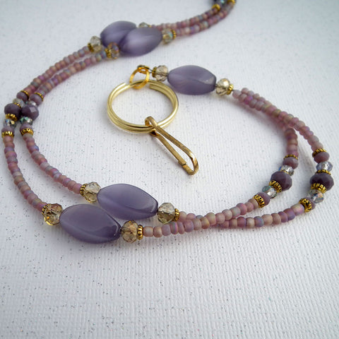 Beaded Lanyard - Purple Catseye