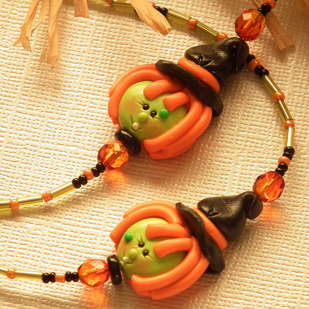 Halloween Beaded ID Badge Lanyard Polymer Clay Witches - Plum Beadacious  - 1