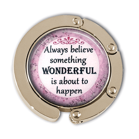 Believe Something Wonderful Photo Glass Cabochon, Purse Hanger - Plum Beadacious