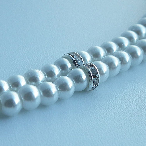 White Pearl Lanyard, White Pearl and Rhinestone Button Badge Reel - Beaded ID Badge Lanyard - Plum Beadacious