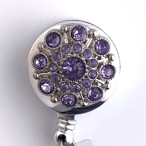 Light Purple Rhinestone Button on Badge Reel - Retractable ID Badge Holder 353