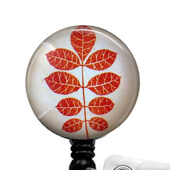 Red Orange Autumn Leaves Badge Holder, Retractable ID Badge Reel 278 - Plum Beadacious  - 1