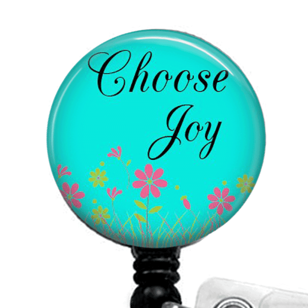 Inspirational Badge Reel -Choose Joy -ID Badge Holder- Turquoise Blue Inspirational Badge Reel - 374 - Plum Beadacious