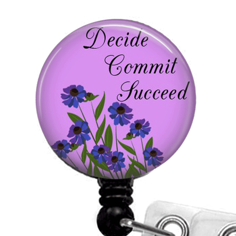 Purple Inspirational Badge Reel -Decide Commit Succeed -ID Badge Holder-375 - Plum Beadacious