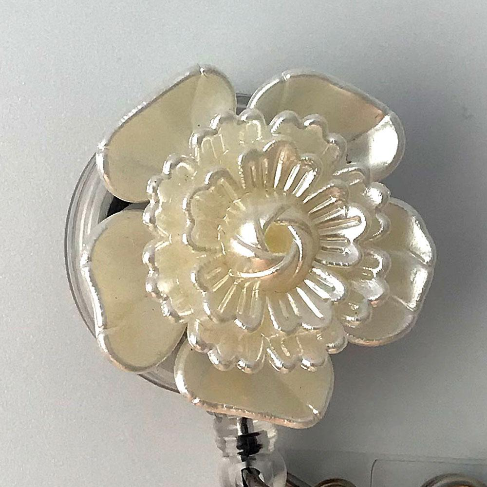 ID Badge Reel Delicate Glossy White Flower - Plum Beadacious