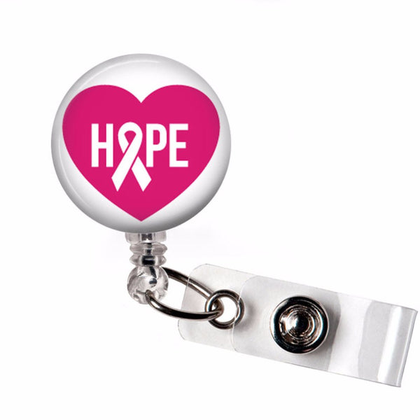 Breast Cancer Awareness Badge Reel - Hope on Pink Heart  - Retractable ID Badge Holder - 288 - Plum Beadacious