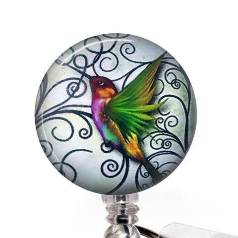 Hummingbird Badge Reel- close up - Plum Beadacious