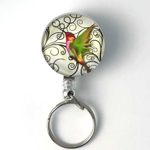 Colorful Hummingbird Key Ring on Badge Reel