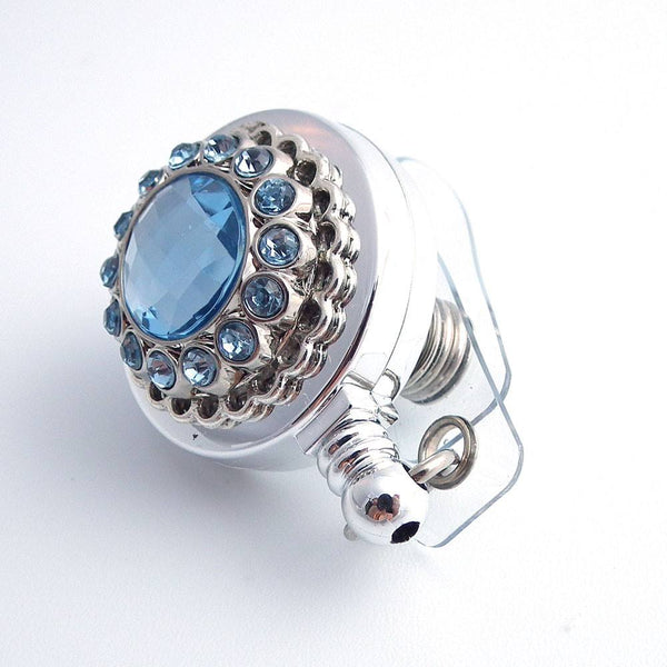 Light Blue Rhinestone Chrome Badge Reel - Magnetic Retractable - Plum Beadacious