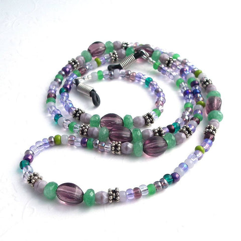 Purple and Green Beaded Eyeglass Chain, Antiqued Silver Beads, Eyeglass Necklace