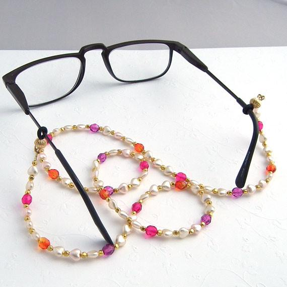 Tiny White Hearts and Czech Glass Eyeglass Leash - Plum Beadacious