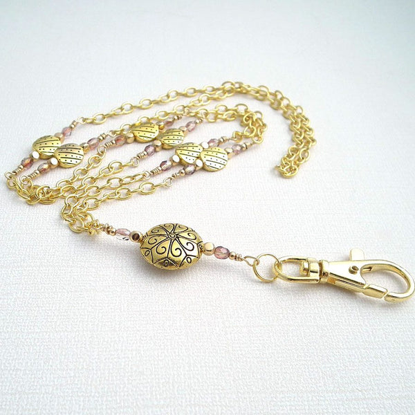 Deluxe Gold Plated Chain ID Badge Lanyard with Neutral Crystal Rondells and Gold Plated Rounded Square Beads - Plum Beadacious