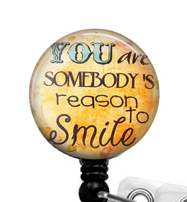 Reason to Smile Glass Dome Retractable ID Badge Reel, Inspirational Quote  283 - Plum Beadacious