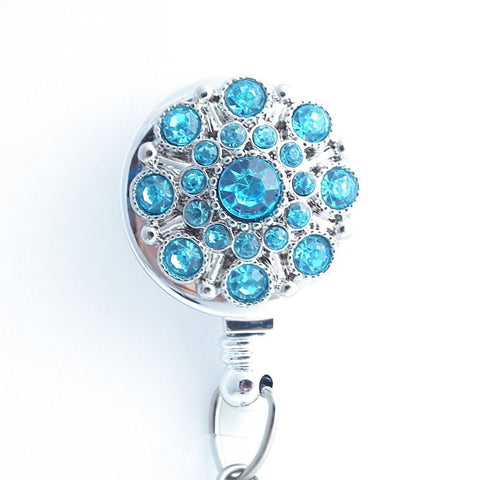 Turquoise Blue Rhinestone Button Badge Holder - Retractable ID Badge Reel 216 - Plum Beadacious