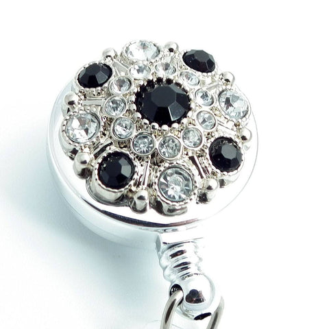 Black and Gray Rhinestone Button Badge Reel - Retractable Badge Holder 249 - Plum Beadacious