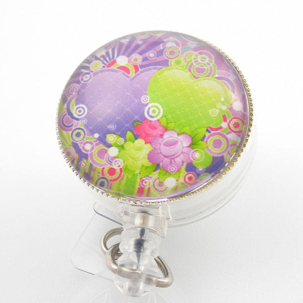 Purple and Green Hearts Photo Glass on Badge Reel  264 - Plum Beadacious  - 1