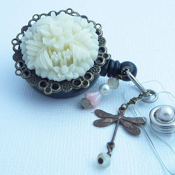 Magnetic ID Flower Badge Reel -Creamy White Flower on Antiqued Brass Filigree Cabochon -Black Badge Reel - Dragonfly Charm - Plum Beadacious