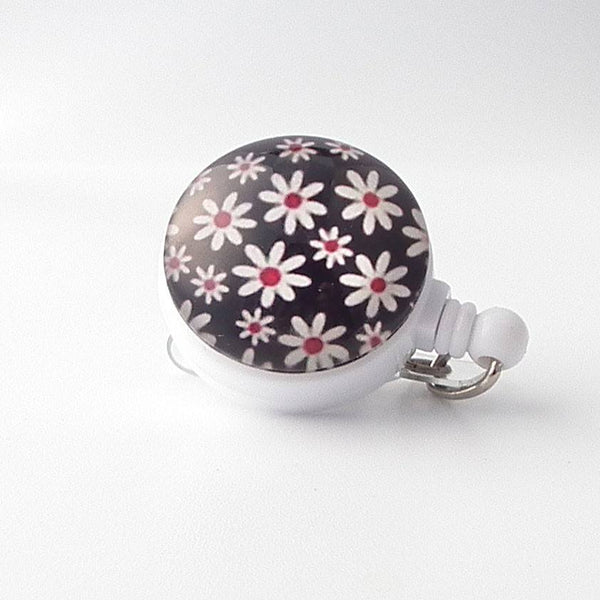 White Daisies on Black Design on Retractable ID Badge Reel, Flower Badge Reel  303 - Plum Beadacious  - 2