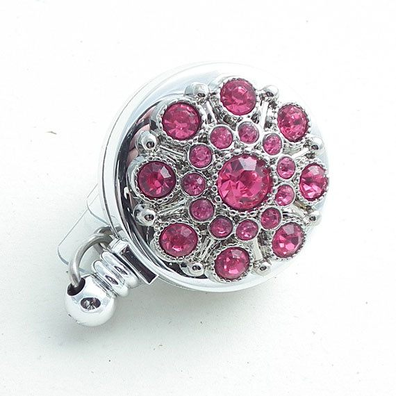 Pink Rhinestone Button Badge Reel - Retractable ID Badge Reel 105 - Plum Beadacious