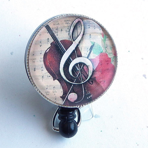 Music Retractable ID Badge Reel - Treble Clef and Rose -Name Badge Holder 254 - Plum Beadacious
