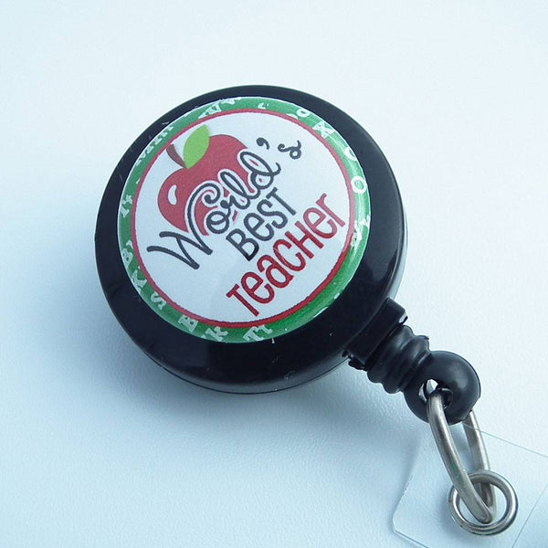 Retractable ID Badge Reel - World's Best Teacher -  Black Teacher Badge Reel - Plum Beadacious  - 2