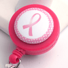 Breast Cancer Awareness Pink Ribbon with Pink Polka Dot Edge on Pink ID Badge Reel - Plum Beadacious  - 1