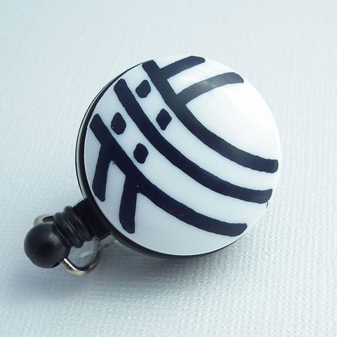 Retractable ID Badge Reel - White with Black Curved Stripes Button -Name Badge Holder 202