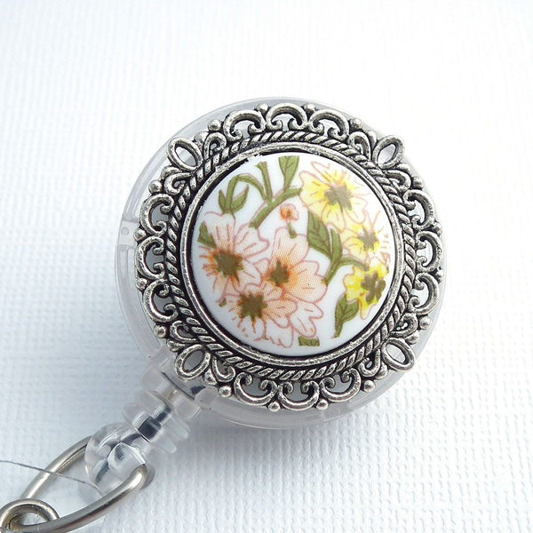 Magnetic Retractable ID Badge Reel Yellow and Peach Flowers, Silver Cabochon -Flower Badge Reel - Plum Beadacious