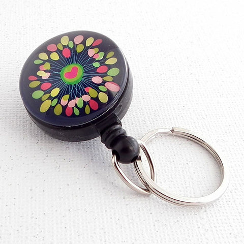 Bright Heart Design Key Ring on Badge Reel, Key Chain