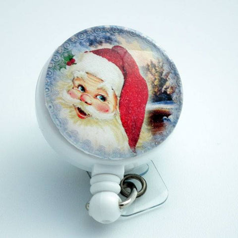 Christmas Smiling Santa Badge Reel Retractable ID Badge Holder- 308 - Plum Beadacious  - 1