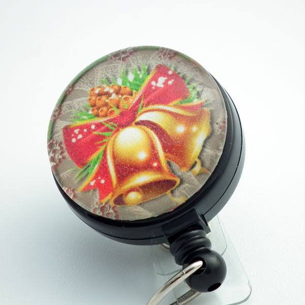 Christmas Holiday Bells Retractable ID Badge Holder - Holiday Badge Reel 171 - Plum Beadacious
