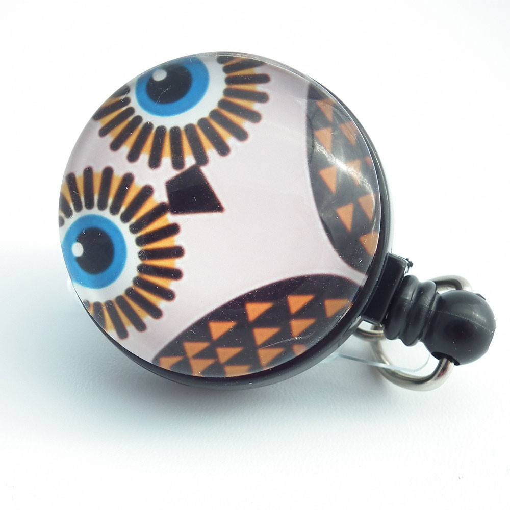 Magnetic Badge Holder - Cute Blue Eyed Owl Photo Glass on  Black Badge Reel - Plum Beadacious