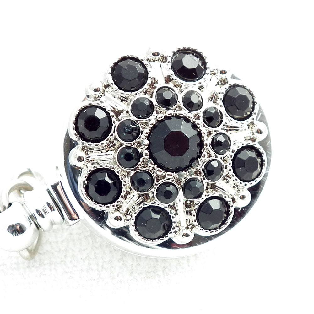Retractable ID Badge Black Rhinestone Button Badge Reel - Retractable ID Badge Reel 169 - Plum Beadacious