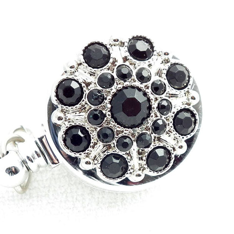 Retractable ID Badge Black Rhinestone Button Badge Reel - Retractable ID Badge Reel 169