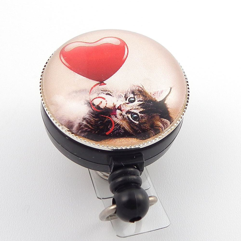 Cute Kitten with Heart Photo Glass on Badge Reel  - Hearts Badge Reel 261 - Plum Beadacious