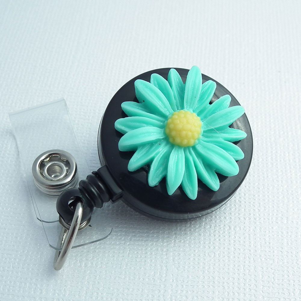 Retractable Turquoise Daisy ID Badge Reel -  Flower Badge Reel - Belt Clip - Plum Beadacious