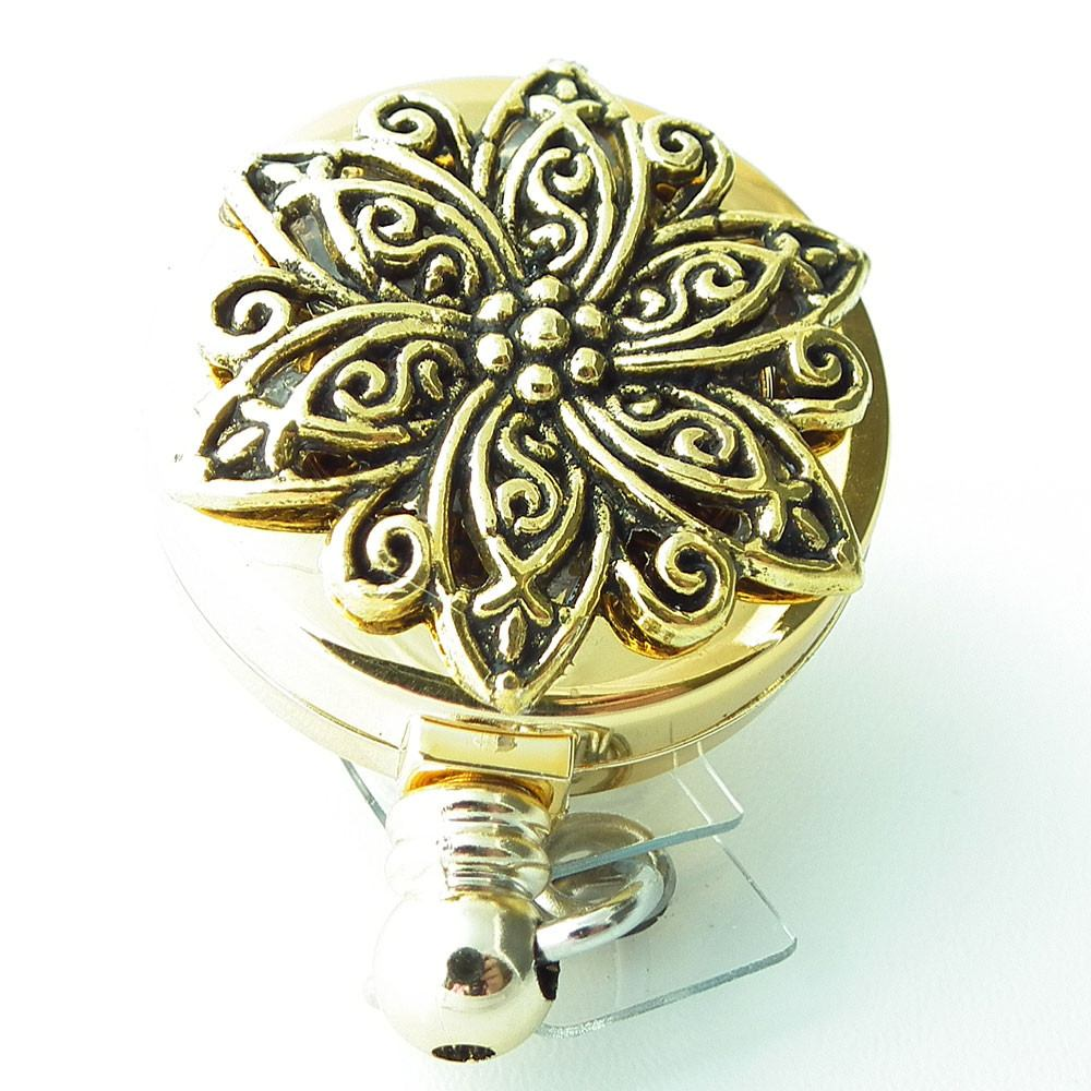 Gold Star Filigree Badge Holder, Retractable ID Badge Reel 276 - Plum Beadacious