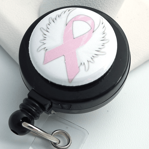Breast Cancer Awareness Pink Ribbon with Wings on Black Badge Reel - Magnetic or Clip On Style